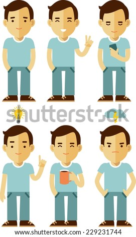 Young man character flat set in different poses - stock vector