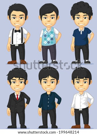 Young Man Character Set - stock vector