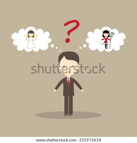 Young man dreaming of angel and devil - stock vector