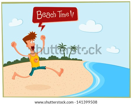 young man enjoying summer vacation in the beach - stock vector