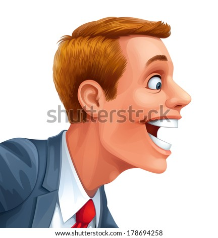Young man excited surprised happy amazed smile vector head portrait cartoon open mouth - stock vector