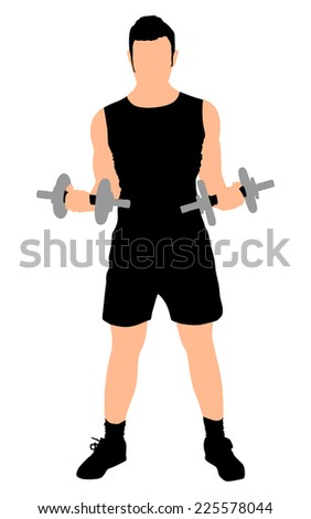 Young man exercising with dumbbells, vector  - stock vector