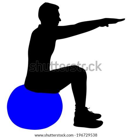 Young man exercising with pilates ball, vector  - stock vector