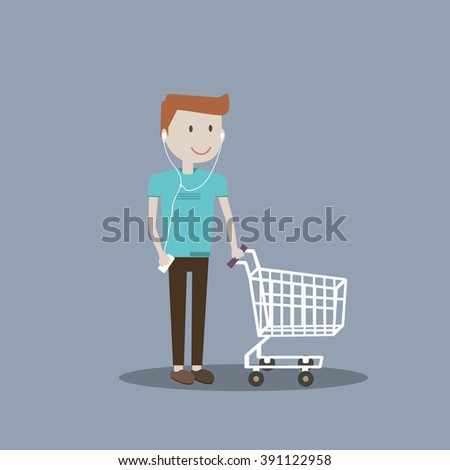 Young man guy with empty cart / Friendly smiling man with shopping cart / Vector illustration guy with headphones smart phone ready for shopping /Flat characters design lifestyle recreational activity - stock vector