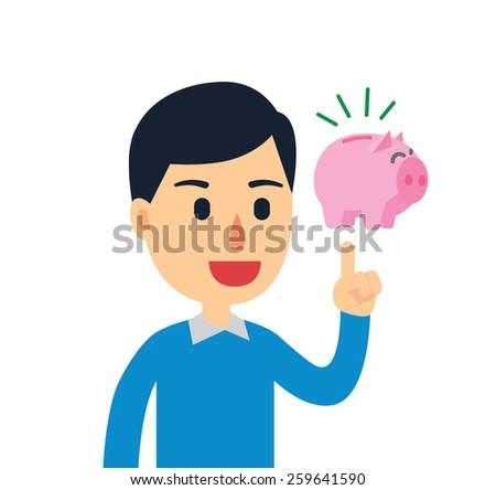 Young man have a good idea to saving his money - stock vector
