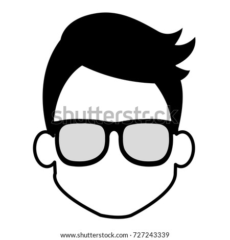 young man head glasses avatar character stock vector royalty free