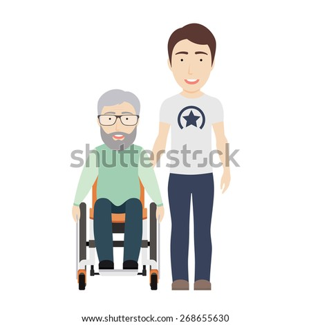 Young Man Helps His Disabled Grandpa on a Wheelchair. Vector Flat Illustration. - stock vector