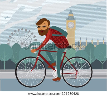 Young man hipster riding bike in London - stock vector