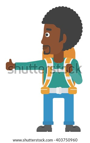 Young man hitchhiking. - stock vector