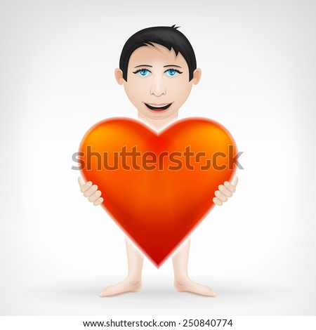 young man holding his big red heart and looks for love concept vector graphic design isolated on white background - stock vector