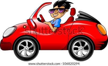 young man in dark glasses driving a red sports car (illustration) - stock vector