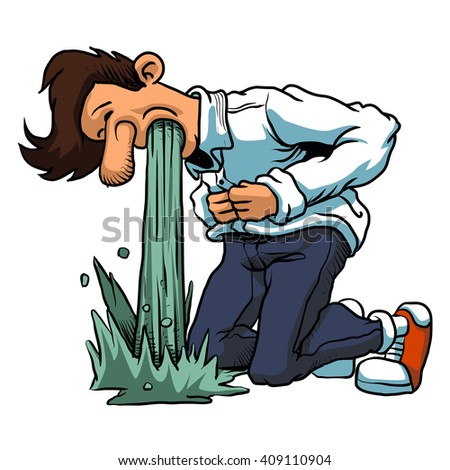 Young man in pain vomiting. - stock vector