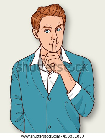 Young man in white shirt and blue cardigan gesturing quiet and silence - stock vector