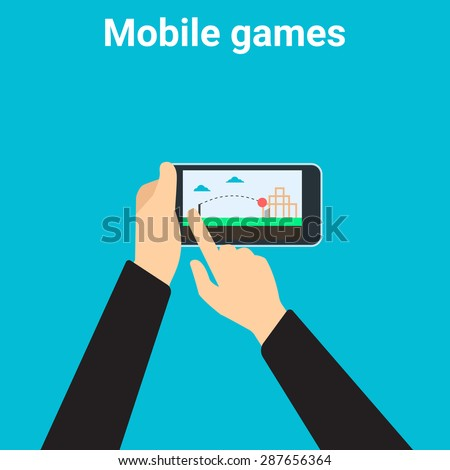Young man is playing videogame on mobile phone app - stock vector