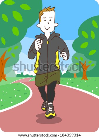 Young man jogging - stock vector