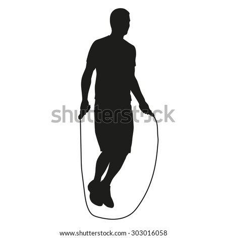 Young man jumping rope. Vector silhouette of an athlete in training - stock vector