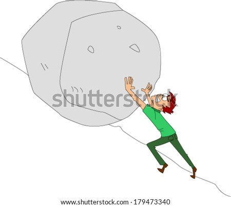 Young man of average build desperately trying to push boulder uphill - stock vector