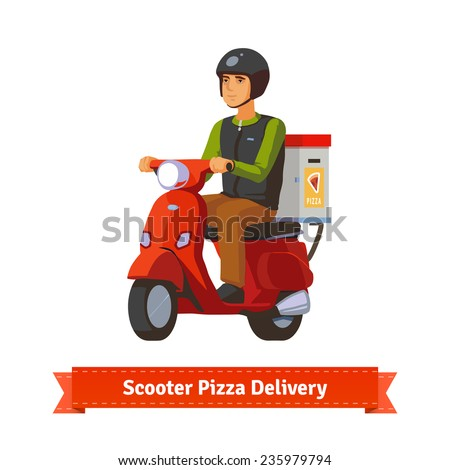 Young man on a scooter delivering pizza. Flat style illustration. EPS 10 vector. - stock vector