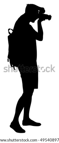 young man photographer with camera shooting vector isolated on white background photographer paparazzi