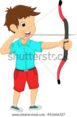 young man playing archery on a white background