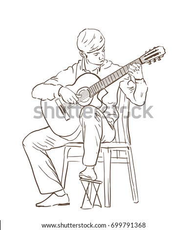 Young Man Playing Classical Cutaway Guitar Sitting On A Chair Hand Drawn Illustration Line