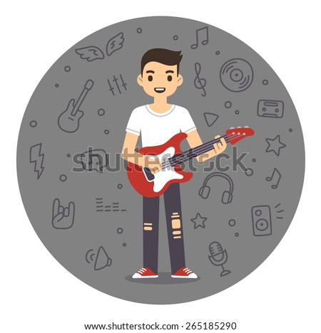 Young man playing rock guitar in flat cartoon style. Background is a pattern of music related symbols. - stock vector