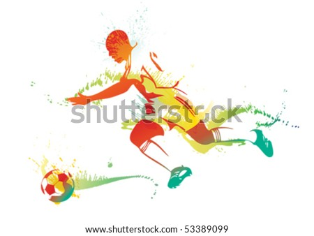 Young man playing soccer. Vector illustration. - stock vector