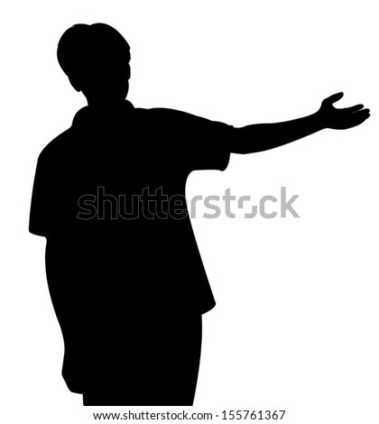 Young man pointing, vector illustration