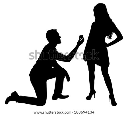 Young man proposing to his girlfriend, vector - stock vector