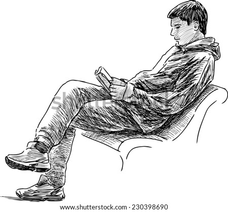 young man reading a book - stock vector