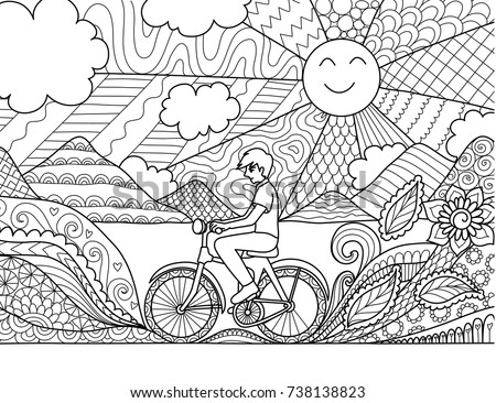 Young Man Riding Bicycle Happily In Beautiful Nature For Adult Coloring Book Page And Other Design