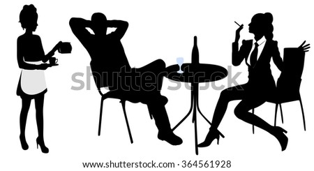 young man sitting in a bar and drinking wine while his girl sitting and smoking, waitress serving coffee