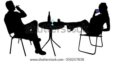 young man sitting in a bar and smoking cuban cigar   - stock vector