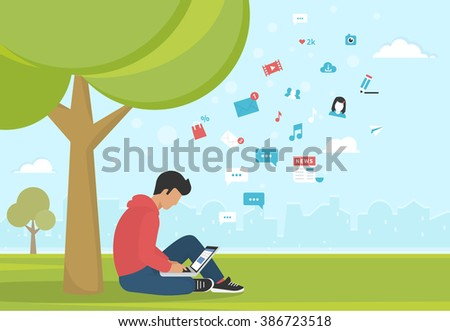 Young man sitting in the park under a tree and working with laptop. Flat modern illustration of social networking, searching and sending email and texting to friends - stock vector