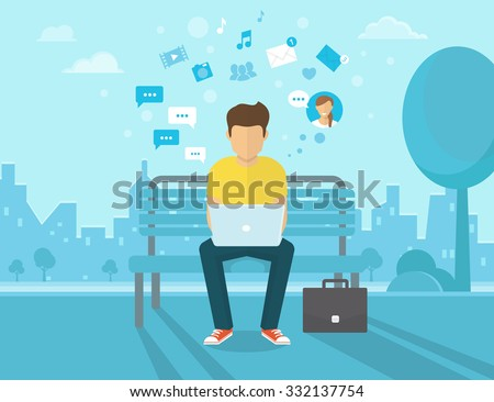 Young man sitting in the street and working with laptop. Flat modern illustration of social networking and texting to friends. Vektor laptop chat illustration. Man is chatting with people - stock vector