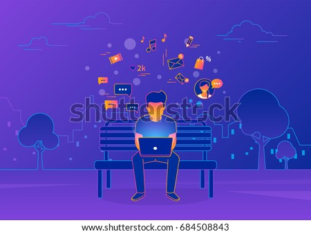 Young man sitting in the street and working with laptop on violet background. Gradient line vector illustration of social networking, searching news, sending email and texting to friends