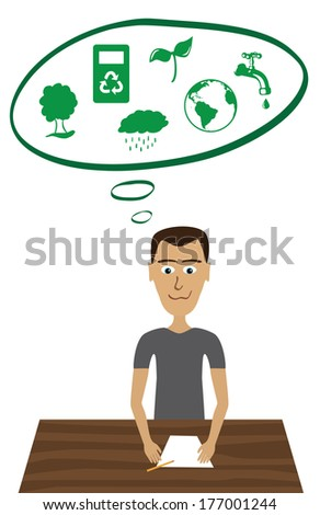 Young man sitting on a table with a blank sheet of paper and a pencil. Balloon showing his sustainable thoughts with symbols. - stock vector