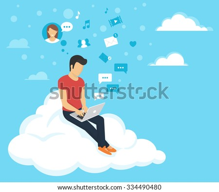 Young man sitting on the cloud in the sky and working with laptop. Flat modern illustration of social networking and texting to friends - stock vector