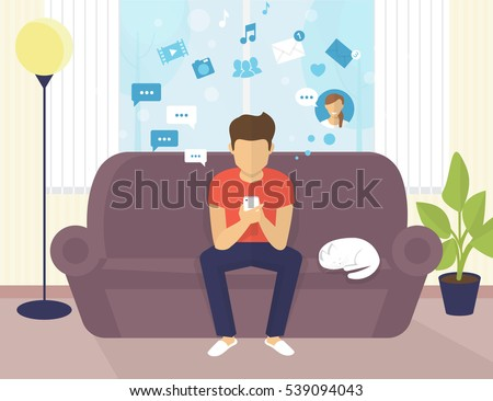 Young man sitting on the sofa at home interior and working with laptop. Flat modern illustration of young student chatting in social networking and texting to friends