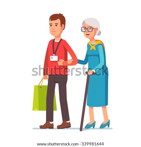 Young man social worker helping elder grey haired woman with grocery shopping. Strolling with old lady. Flat style vector illustration isolated on white background. - stock vector