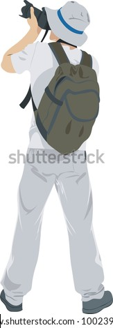 young man tourist with camera on white - stock vector