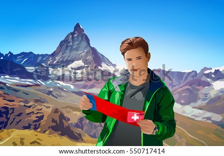 Young man tourist with map standing on Alps mountains background at summer season