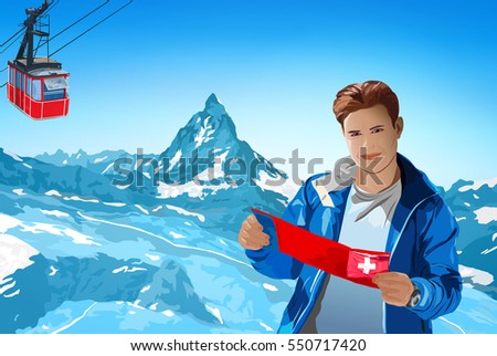Young man tourist with map standing on Alps mountains background at winter season