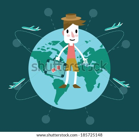 Young man travel around the world. Vector illustration - stock vector