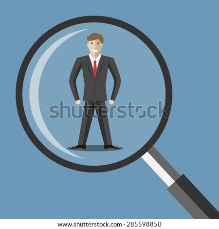 Young man under magnifying glass. Choice, selection, hiring, analysis, interview, employee, job, staff, recruitment concept. EPS 10 vector illustration, transparency used - stock vector