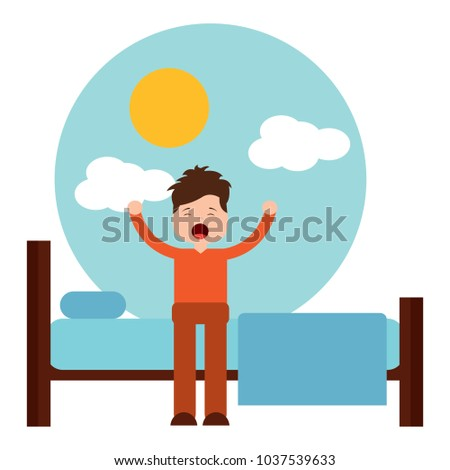 young man waking up sitting on bed vector illustration