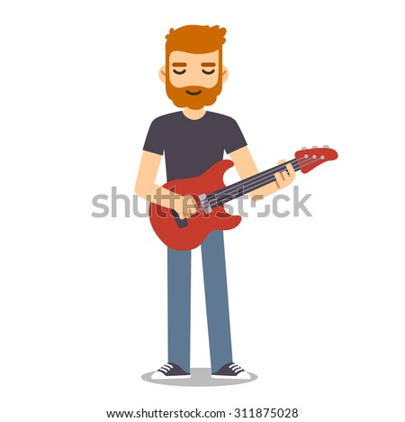 Young man with beard playing electric guitar.  Indie rock guitarist in flat cartoon style.  - stock vector