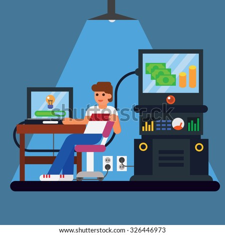 Young man with computer - money and idea appearing from the screen Vector flat illustration