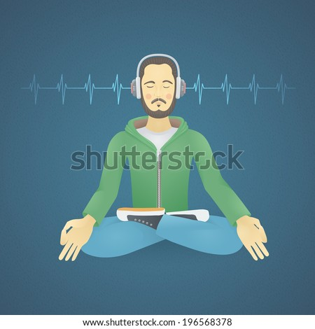 Young Man with Headphones Listening to Music Meditates - stock vector