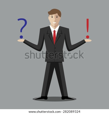 Young man with question and exclamation mark. Making decision, thinking, uncertainty, choice concept. EPS 10 vector illustration, no transparency - stock vector